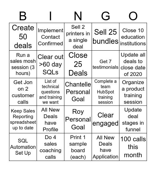 Sales Bingo Card