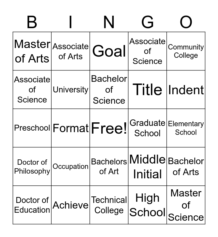 Pre-unit Vocabulary Bingo Card