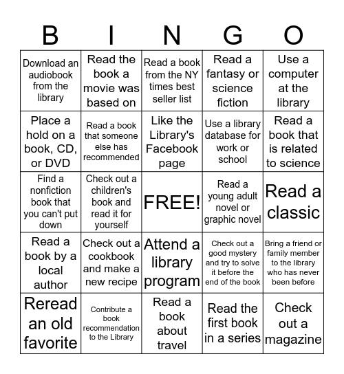 Tooele City Library Adult Summer Reading Bingo 2014 Bingo Card