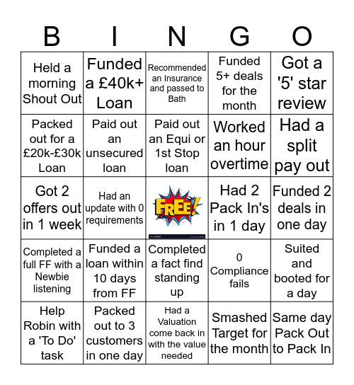 Monthly Bingo Card