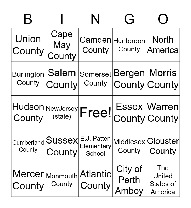 Our Place in the World Bingo Card