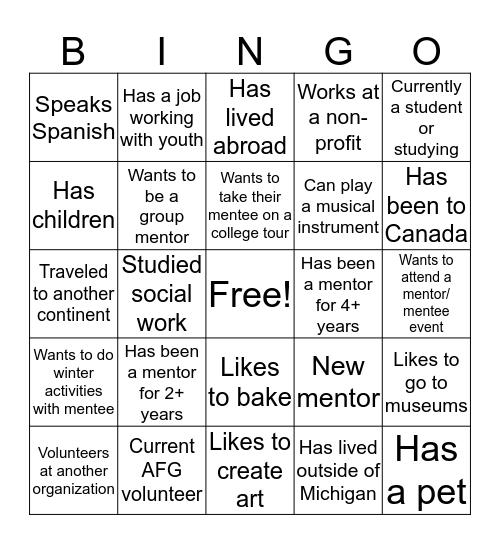 Mentor Bingo Card