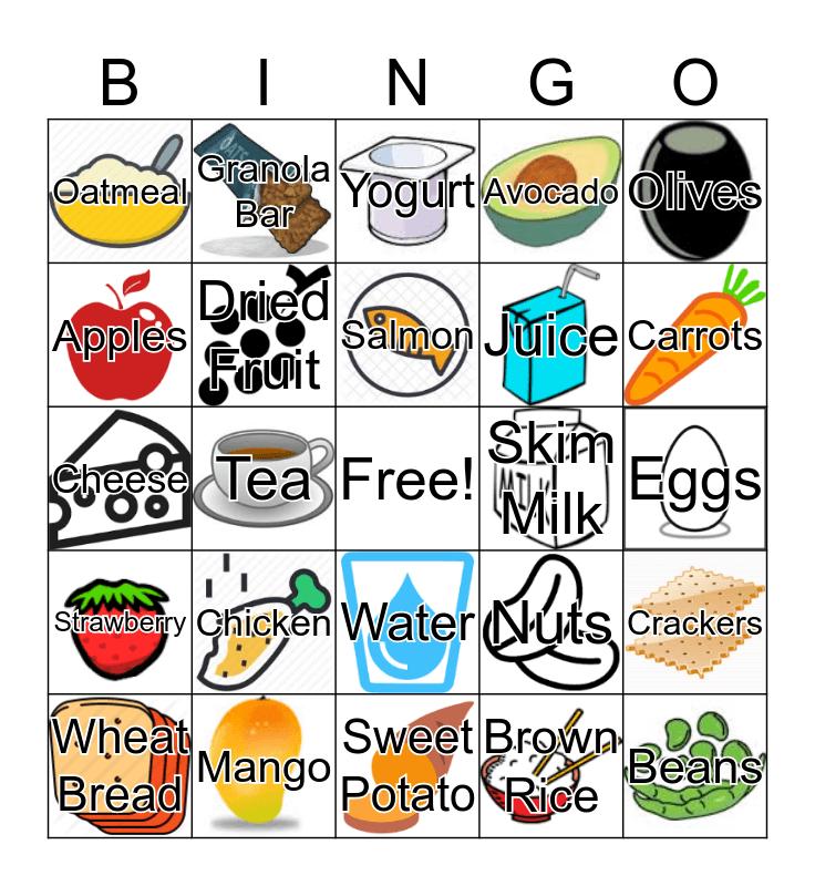 Healthy Food Bingo Card