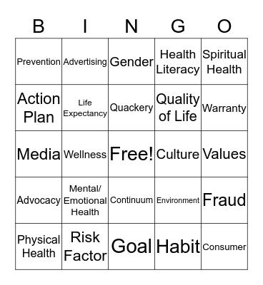 Chapter 1 Health Vocab Bingo Card