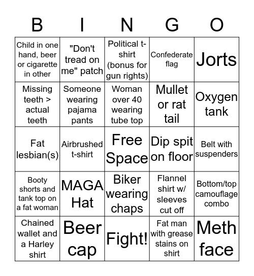 Redneck Bingo Card