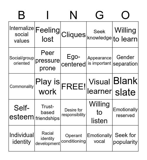 Psychology of TNTT Divisions Bingo Card