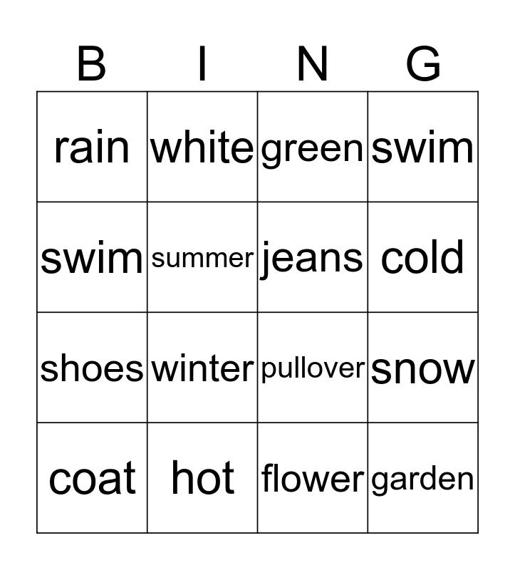 Seasons Bingo Card