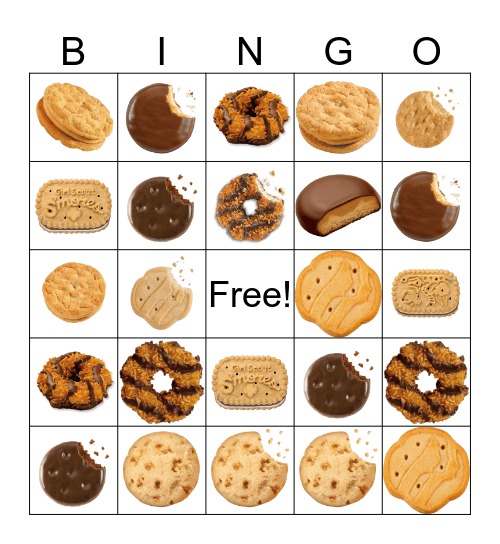 Girl Scout Cookie Bingo Card