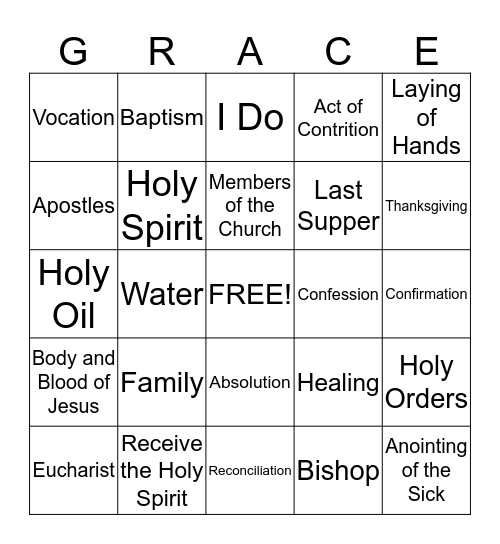 The Seven Sacraments Bingo Card