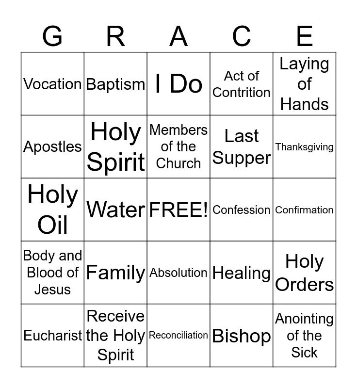 The Seven Sacraments Bingo Card