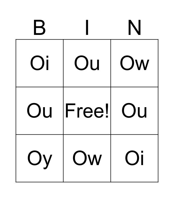 Spelling Word Bingo Card