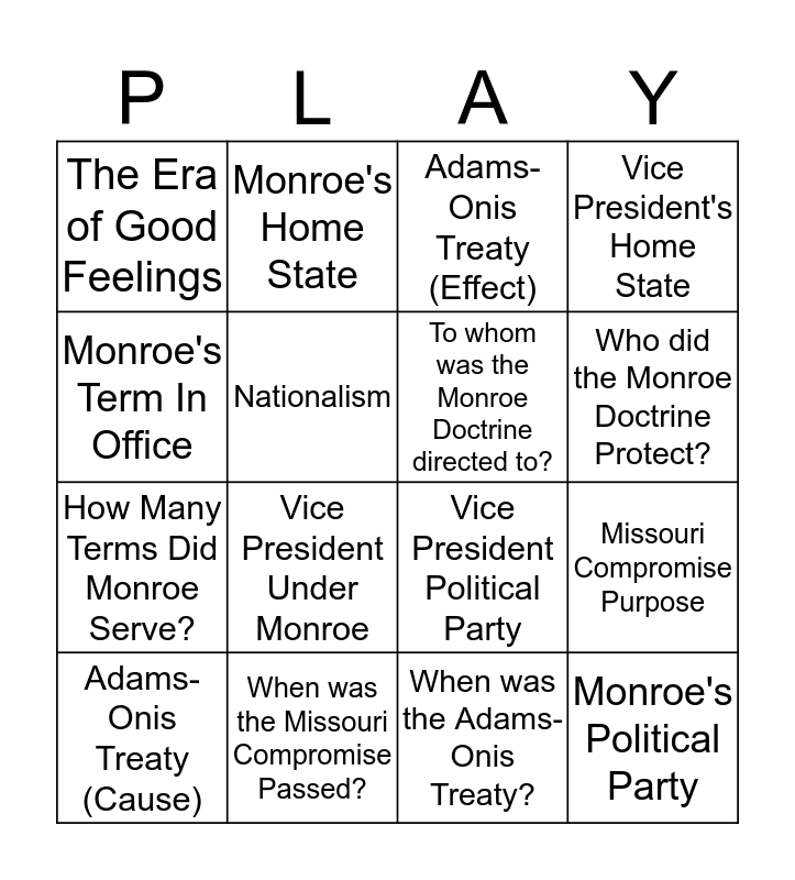 James Monroe Bingo Card