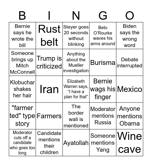 WNDC 2020 Democratic Debate  Bingo Card