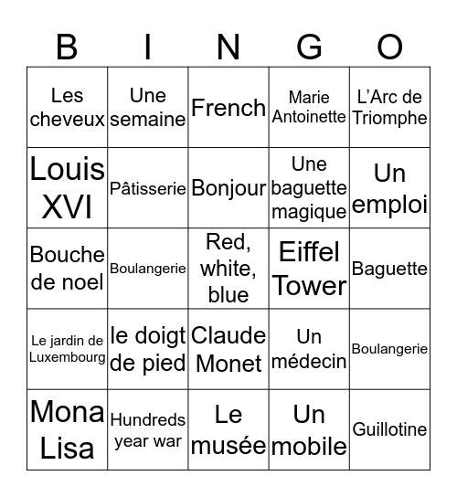 France  Bingo Card