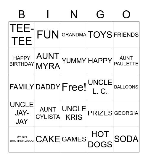 ARAYAH'S FRIST BIRTHDAY PARTY Bingo Card