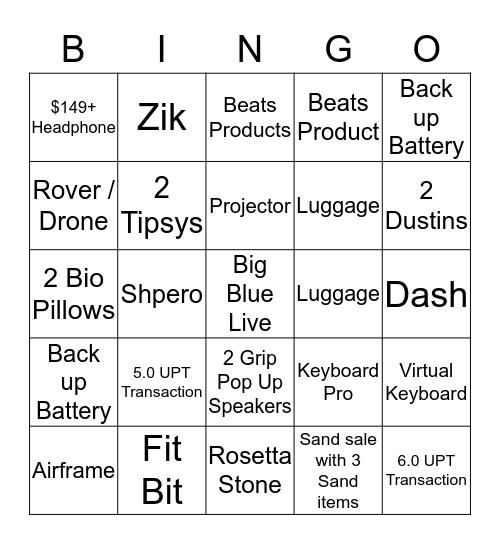 Tuesday 5/27 - Tuesday 6/2 Bingo Card