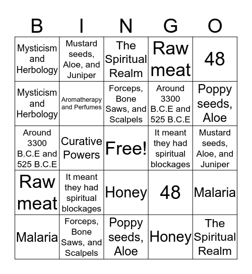 Ancient Egypt Healing,Magic,and Medicine Bingo Card