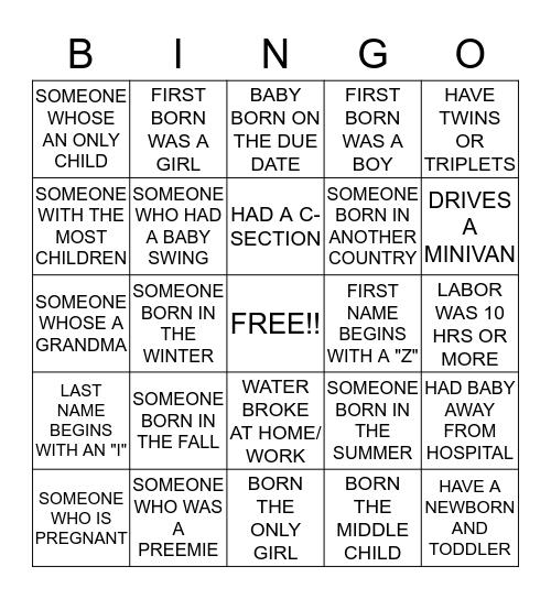 """BABY COUNTDOWN"" Bingo Card"