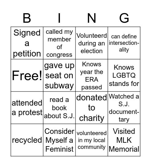 Social Justice Bingo Card
