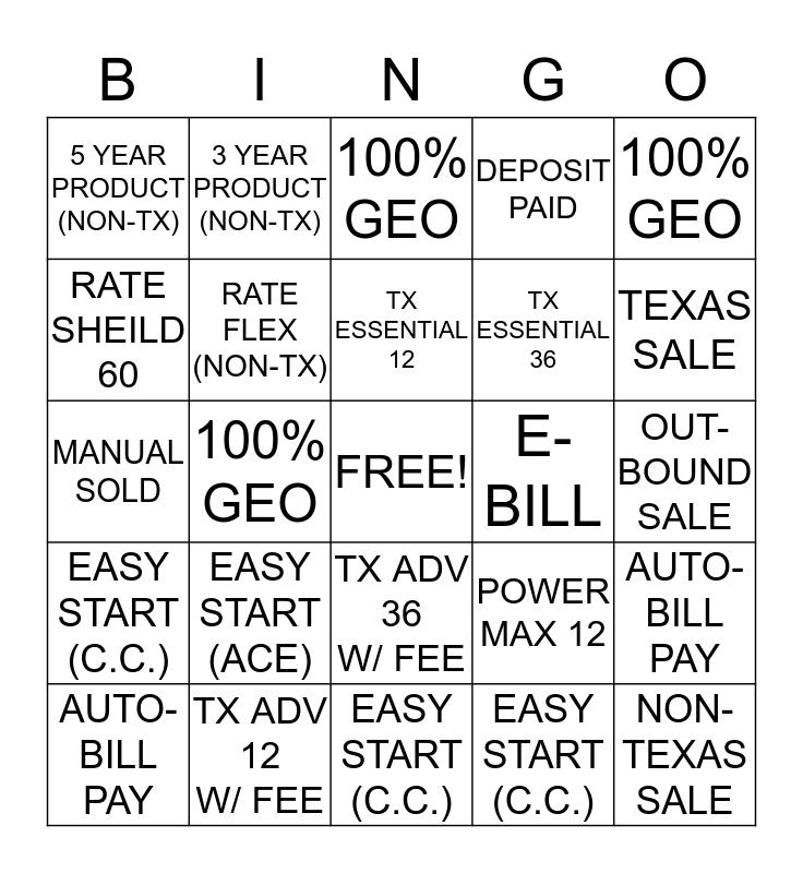 ENERGY B.I.N.G.O Bingo Card