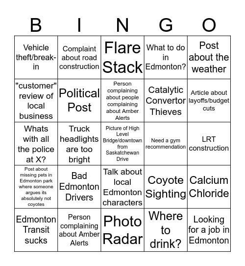 r/Edmonton Bingo Card