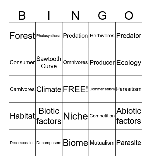 Biome Bingo Card