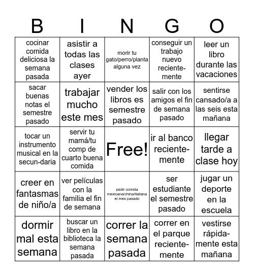 El Pretérito Bingo Card