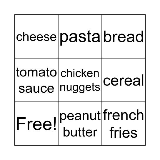 Grocery Items  Bingo Card