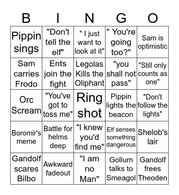 Lord of the Rings  Bingo Card