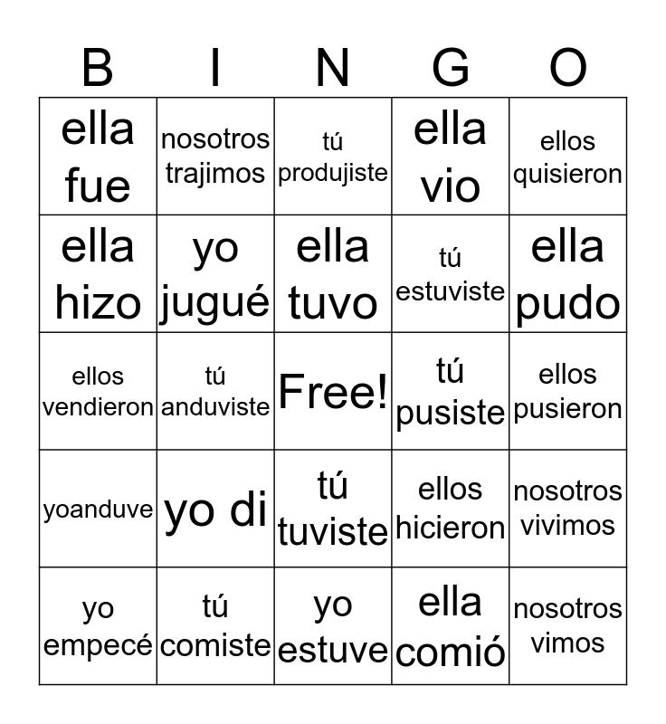 Pretérito Bingo Card