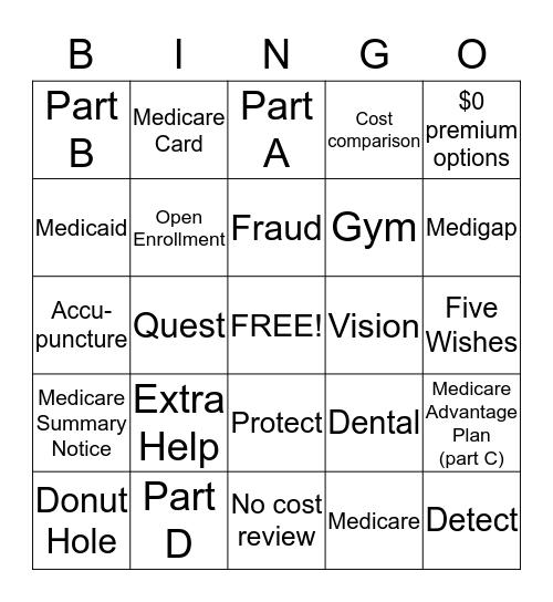 MEDICARE Plans Hawaii Bingo Card