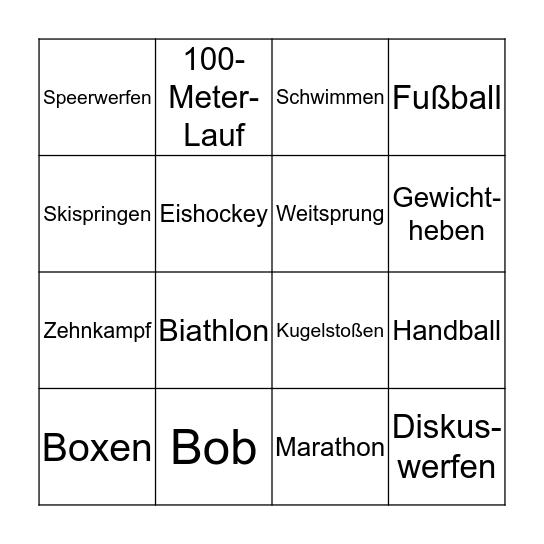 Verfolgte Sportarten Bingo Card