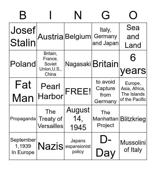 World War II  Bingo Card