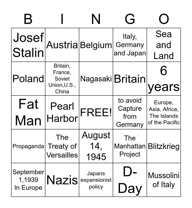 World War II  Bingo Card