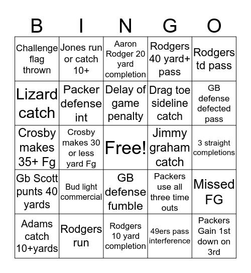Packers vs 49ers Bingo Card