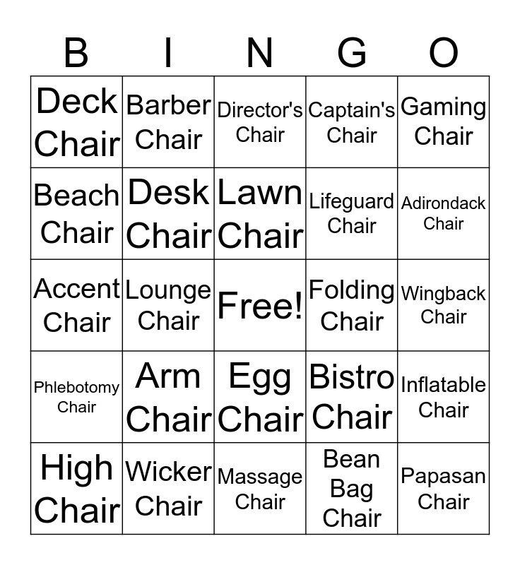 Chair Bingo Card