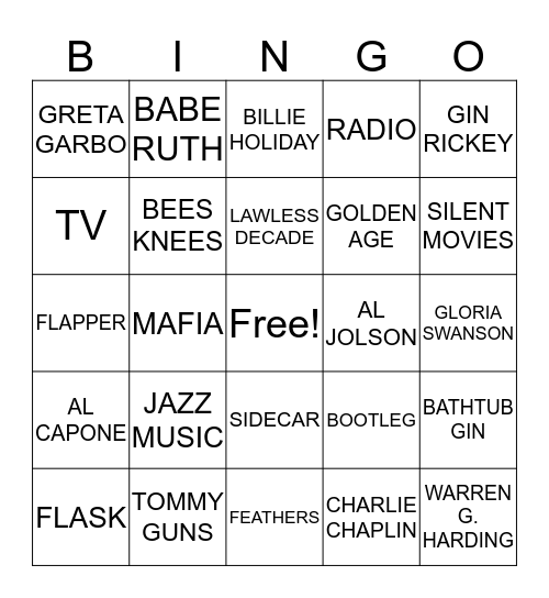 ROARING 2O'S BING0 Bingo Card