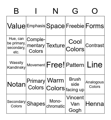 6th Grade Art Review Bingo  Bingo Card