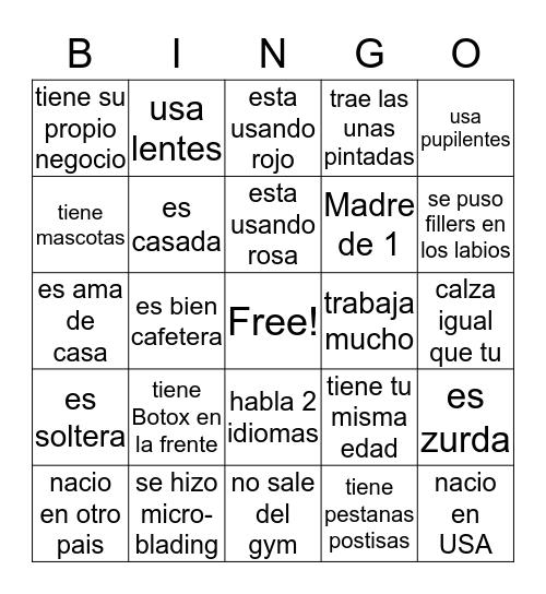 Dime algo de tu amiga! Bingo Card