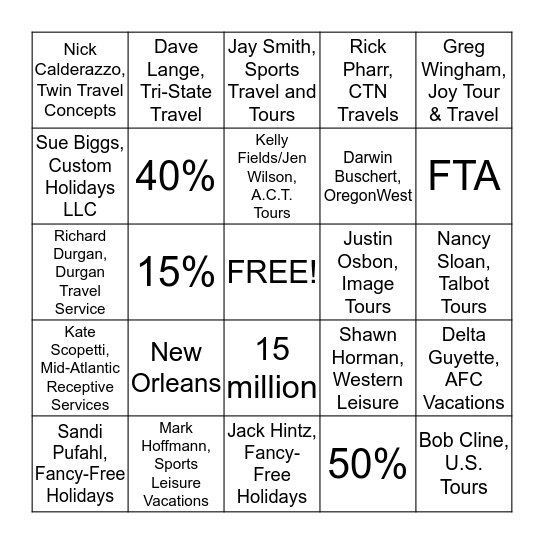 NTA Bingo Card