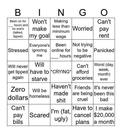 Minimum Wageee Bingo Card