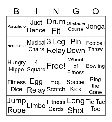 Family Fitness  Bingo Card