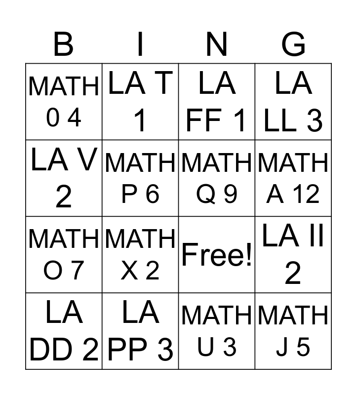 IXL #2 Bingo Card