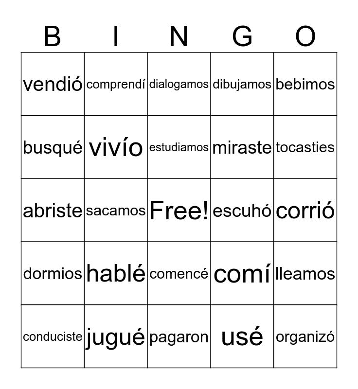 Juguemos Bingo con el Pretérito Bingo Card