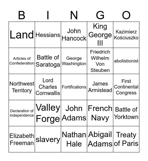 American Revolution Review Bingo Card