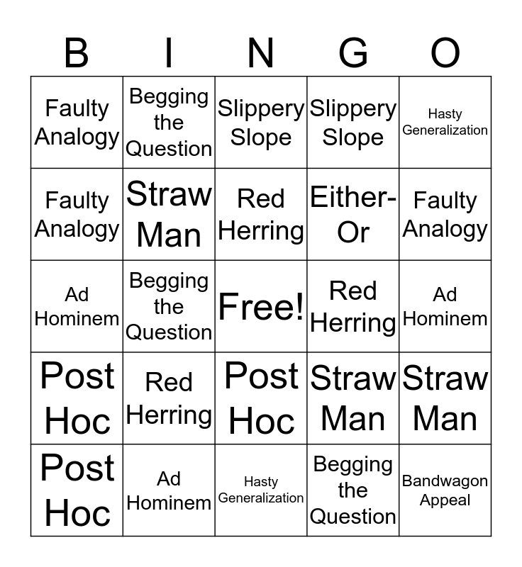 Logical Fallacies Bingo Card