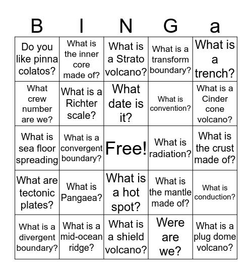 Binga Bingo Card