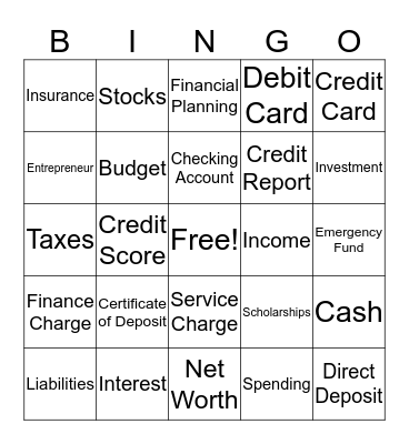 Money!!!!! Bingo Card