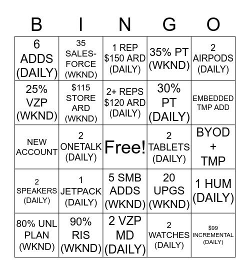GRAMMYS ATLC Bingo Card