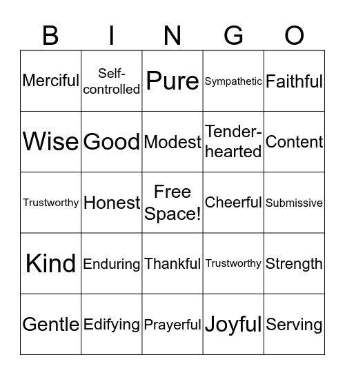 Characteristics of a Godly Woman Bingo Card